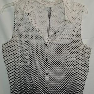 Sleeveless black/white dress shirt, XL